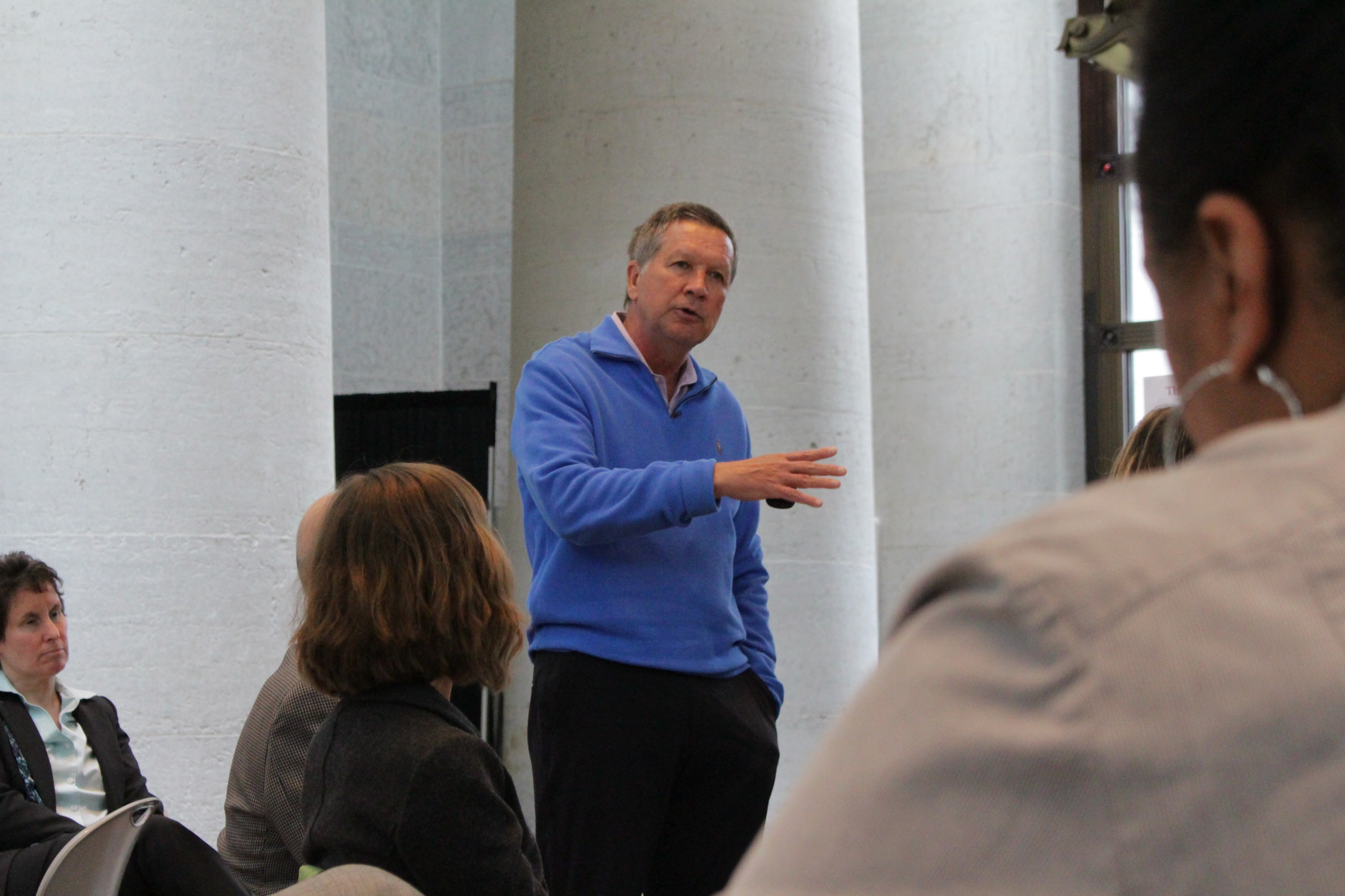 Governor Kasich spoke at the Ohio Statehouse to speak at an event discussing the opioid crisis in Ohio that was sponsored by Ohio State as a part of National Public Health Week on Thursday, April 6 Credit: Hailey Stangebye | Lantern reporter