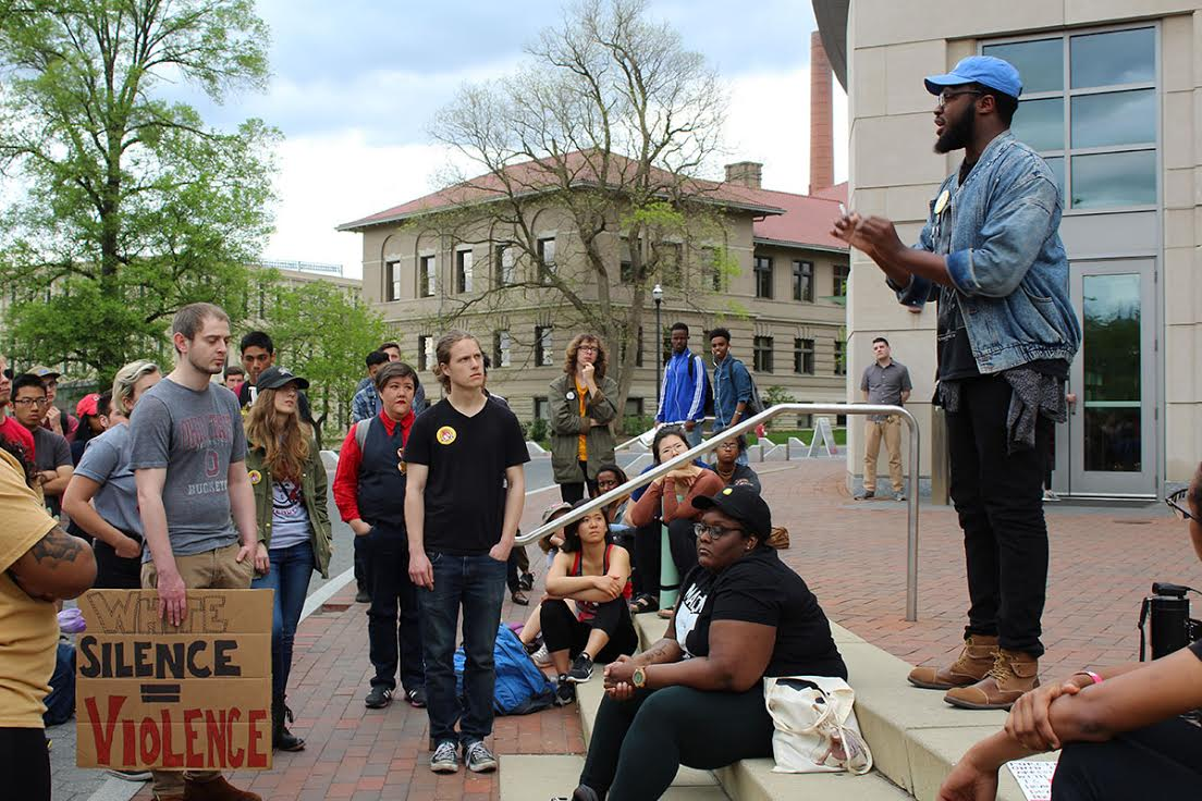 Students protest University Police's detention of man on campus