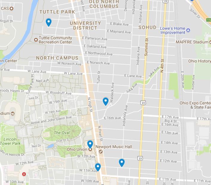 Campus area crime map Sept. 11 – 17