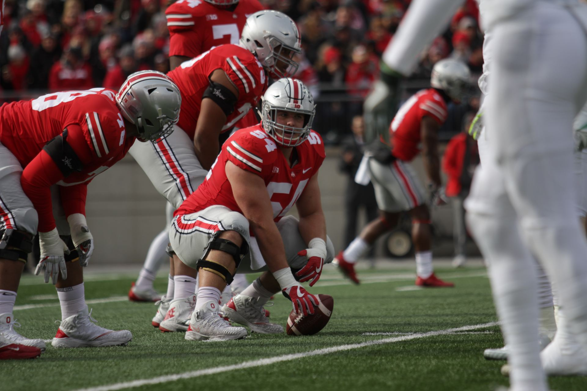 wholesale dealer 6c36a 2b654 Ohio State senior offensive lineman Billy Price (54) prepares for the snap  during the first quarter of the OSU vs. MSU game on Nov. 11 at Ohio Stadium.