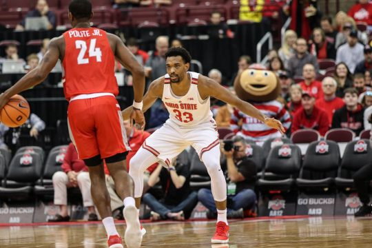Ohio State Senior Forward Jaesean Tate Satu Looks To Pass The Ball In The First Half In The Game Against Radford On Nov