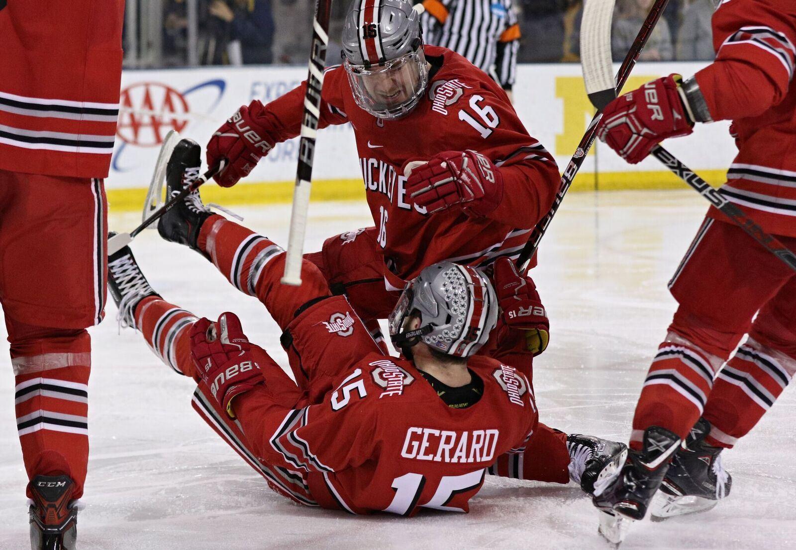 men s hockey ohio state s freddy gerard began career as a gamer off