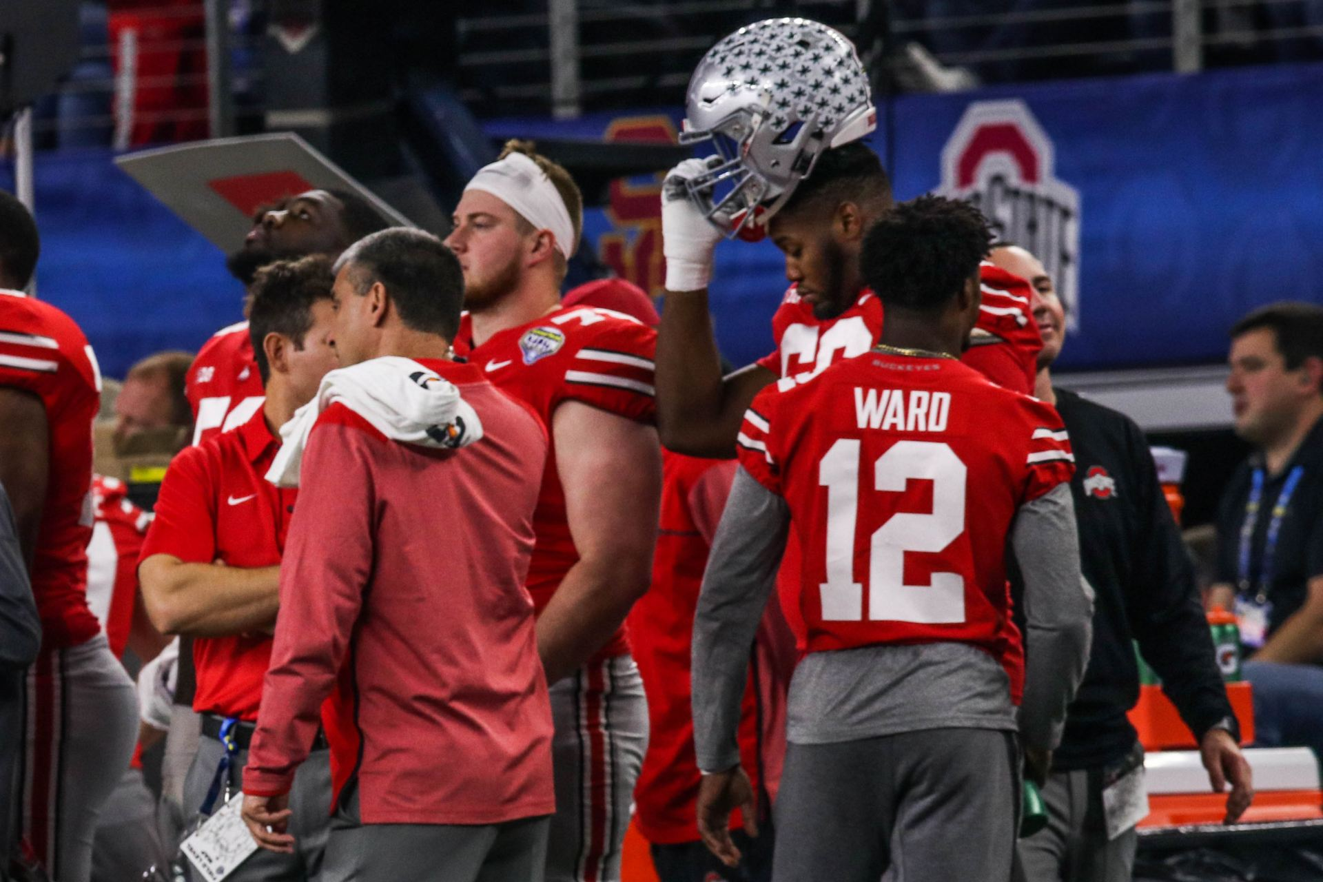 Former Ohio State cornerback Denzel Ward (12) on the sidelines during the  Buckeyes  Cotton Bowl victory against USC on Dec. 29 eb10ff187