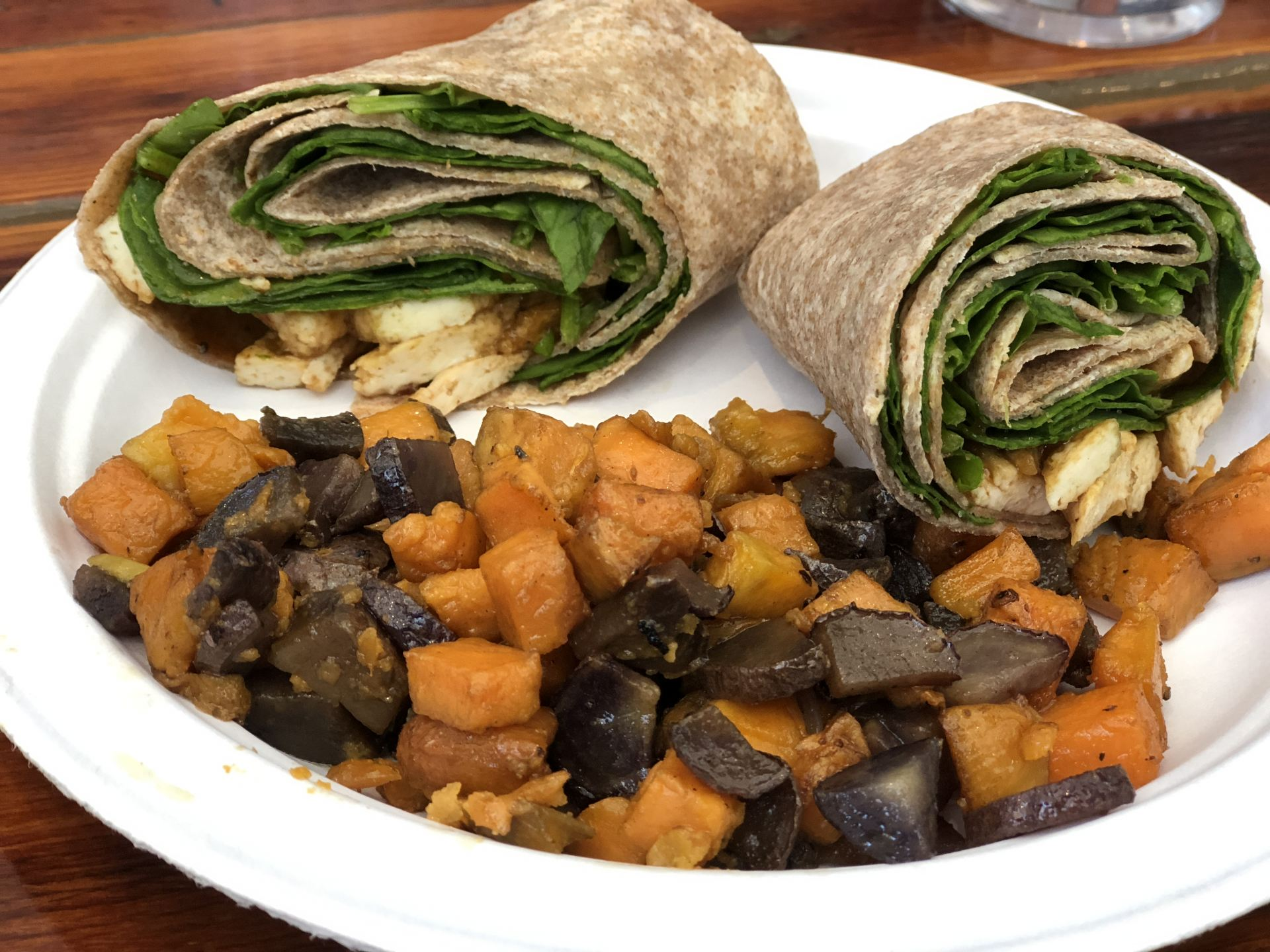 The brunch report pop up vegan soul food leaves us wanting and jerk tofu wrap and sweet and purple potato hash from willowbeez soulveg 10 credit sheridan hendrix oller reporter forumfinder Gallery