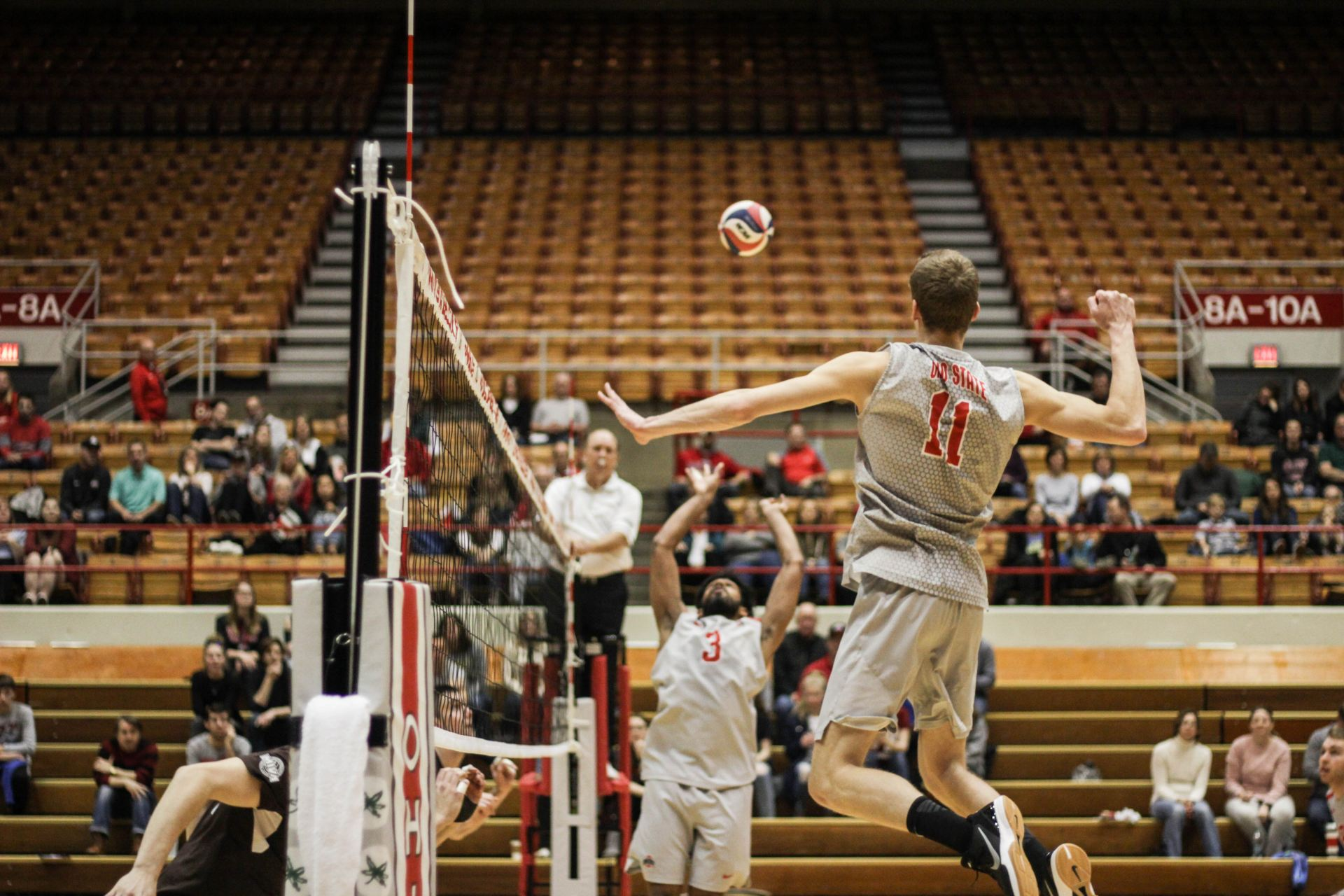 Mens volleyball ohio state advances to conference championship redshirt junior middle blocker blake leeson 11 prepares to spike the ball against quincy university at st john arena on feb 18 2018 publicscrutiny Images