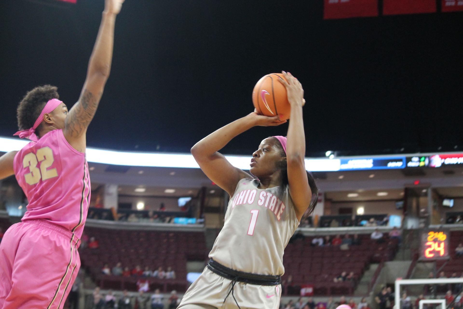 Women's Basketball: No. 3 Ohio State cruises to 87-45 win against No. 14 George Washington, advances to second round