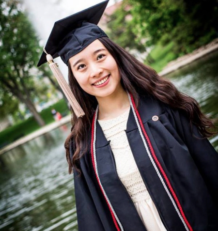 iris cao stands in front of mirror lake after graduating from ohio state in 2016 credit iris cao