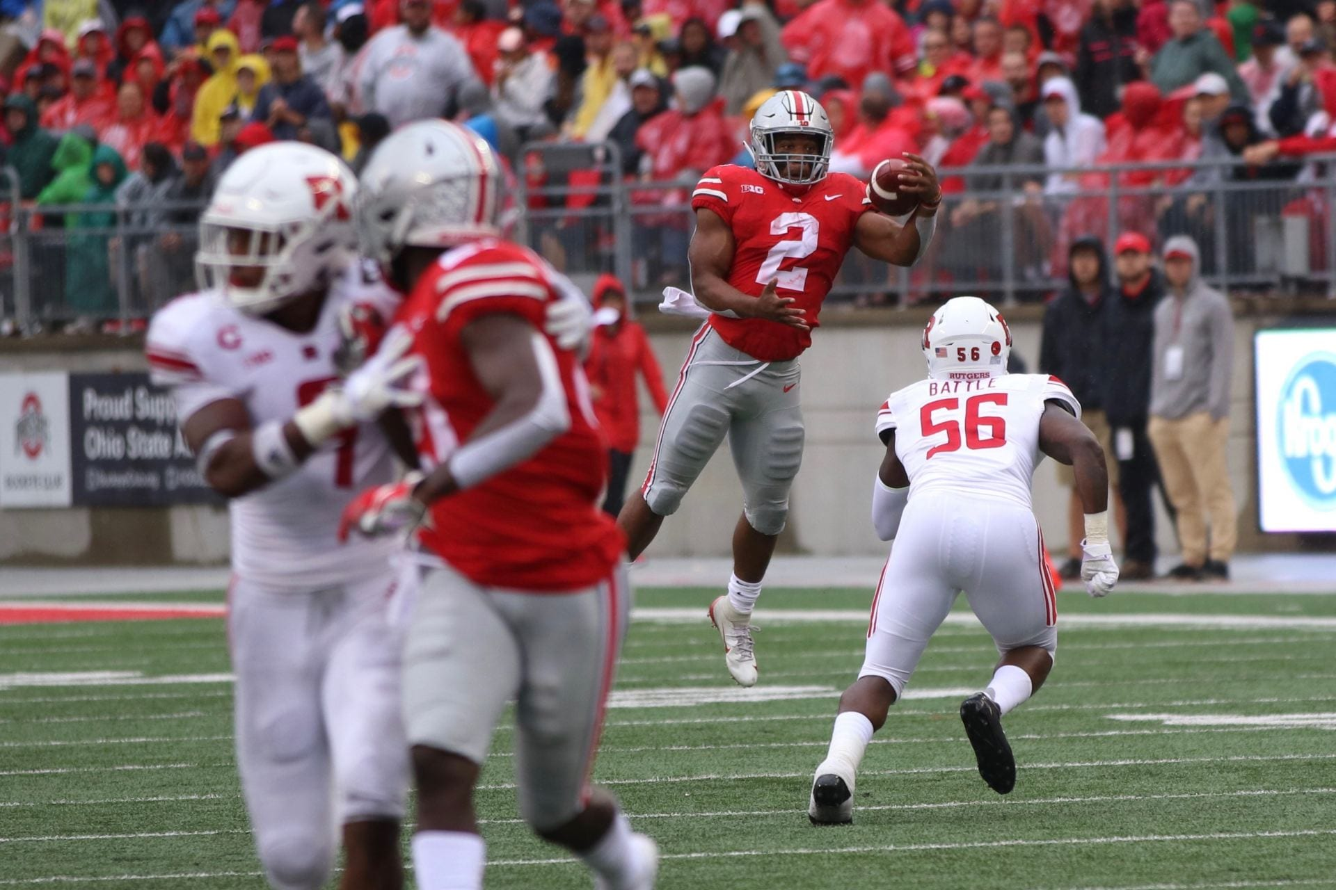 Ohio State sophomore running back J.K. Dobbins (2) catches the ball with  his left hand in the second quarter of the game against Rutgers on Sept. 8. adf2ce47e