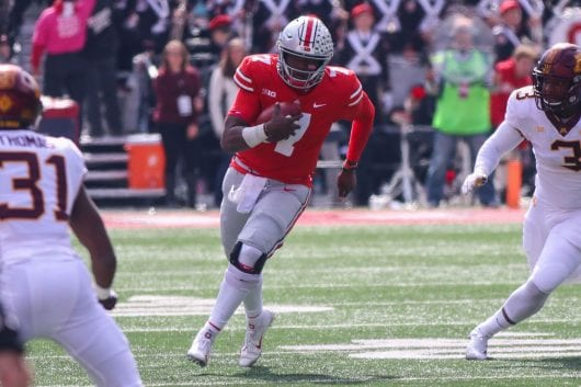 Ohio State redshirt sophomore quarterback Dwayne Haskins (7) runs the ball in the third quarter of the game against Minnesota on Oct. 13. Ohio State won. 30-14. Credit: Casey Cascaldo | Photo Editor