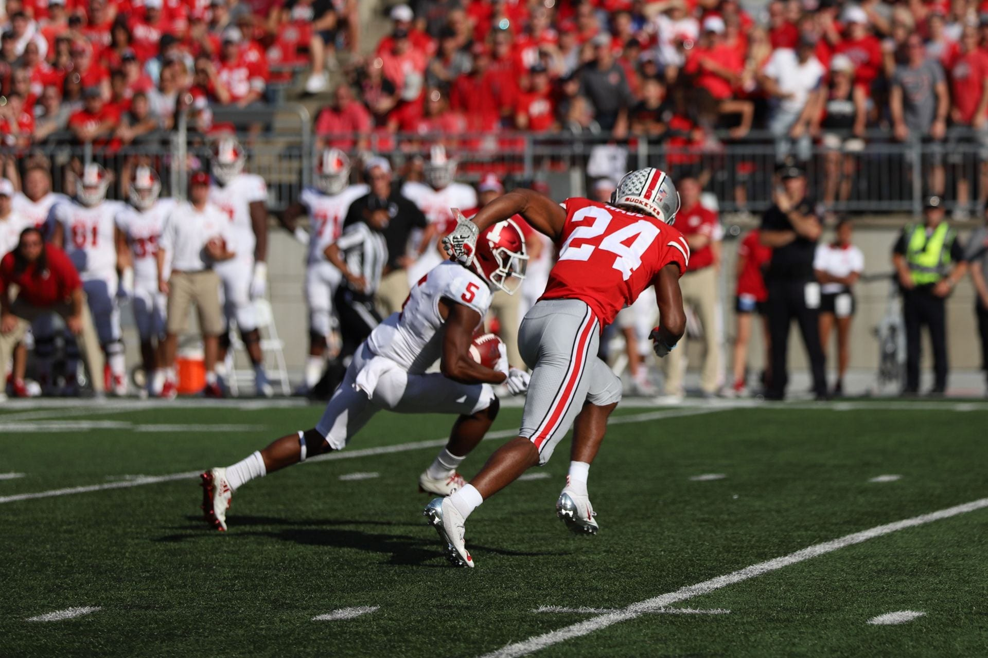 Ohio State cornerback Shaun Wade chases down an Indiana receiver with the ball