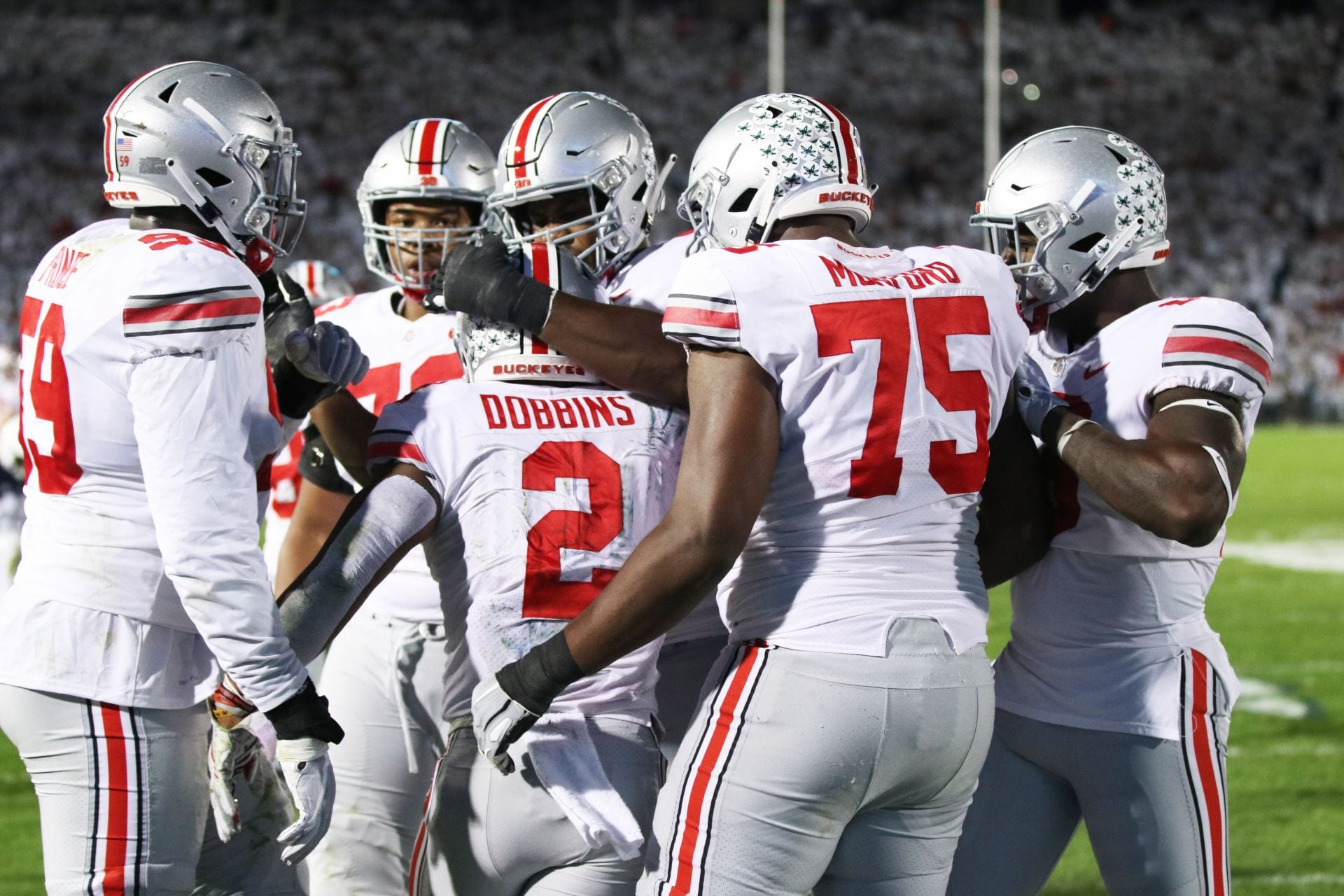 7accd0eb0 The Buckeyes Offense celebrates after sophomore running back J.K. Dobbins (2)  scored a touchdown in the second quarter of the game against Penn State on  ...