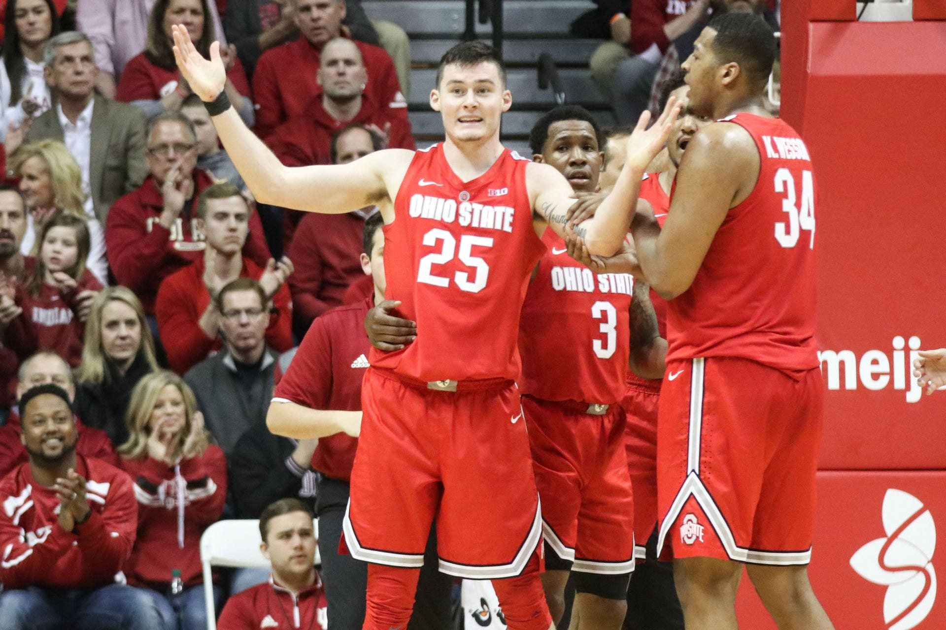 8f77739dfc30 Ohio State sophomore forward Kyle Young (25) questions the referees after  he was called for a foul in the second half of the game against Indiana on  Feb.