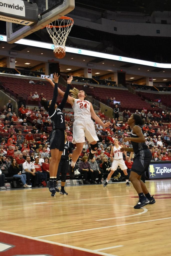 Ohio State redshirt senior forward Makayla Waterman (24) goes up for the shot in the game against Penn State on Feb 6. Ohio State won 78-73. Credit: Cori Wade | Lantern Photographer