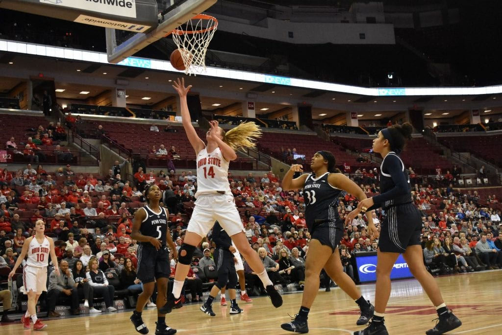 Ohio State's freshman forward Dorka Juhasz (14) goes up for the shot in the game against Penn State on Feb 6. Ohio State won 78-73. Credit: Cori Wade | Lantern Photographer