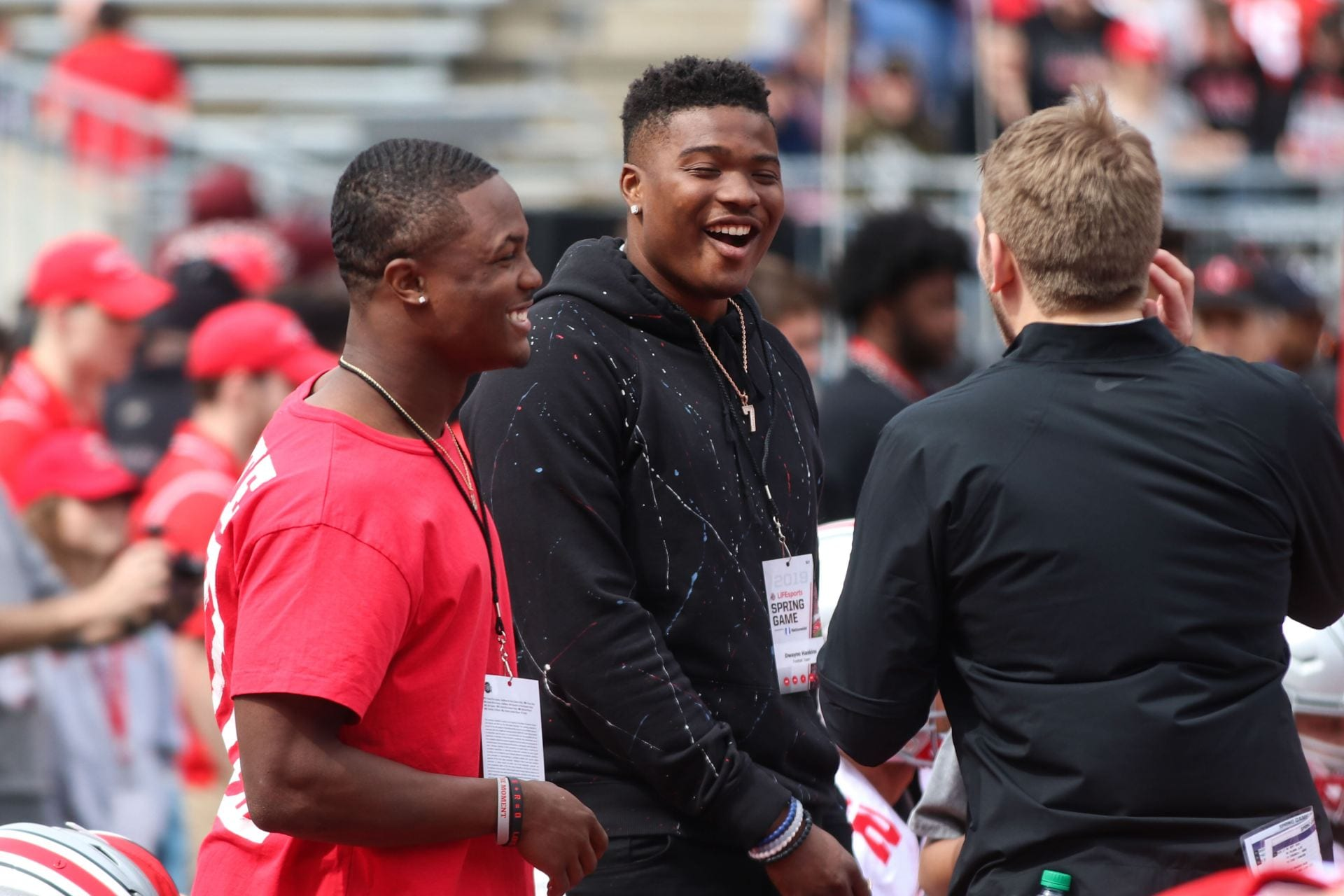 Dwayne Haskins and Terry McLaurin laugh on the sidelines prior to the start of the 2019 Spring Game on April 13. Gray beat Scarlet 35-17. Credit: Casey Cascaldo | Former Managing Editor for Multimedia