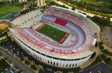Aerial shot of an empty Ohio Stadium