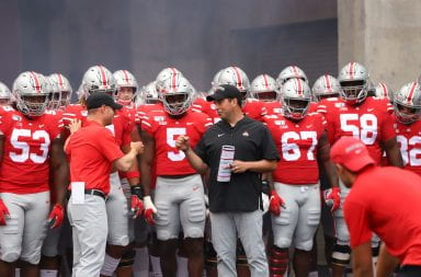 Ohio State head coach Ryan Day prepares to lead the Buckeyes out of the tunnel before the game against Florida Atlantic.