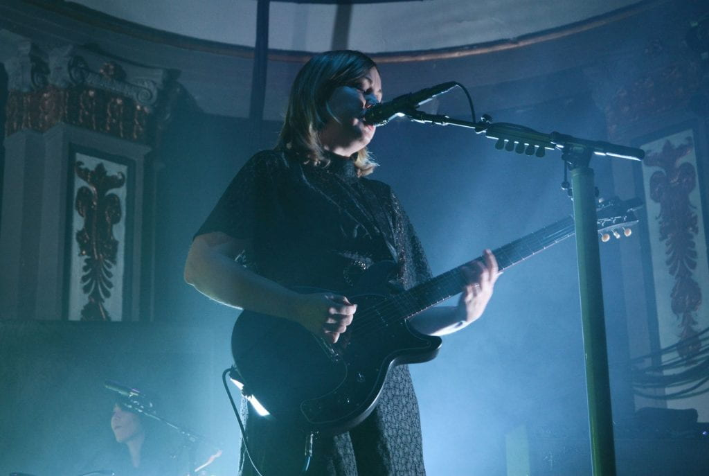 "Corin Tucker of Sleater-Kinney performs ""The Future is Here"" at Newport Music Hall on Nov. 1. Credit: Rachael Crouch 