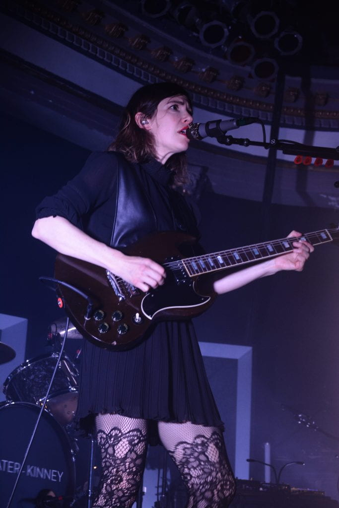 "Carrie Brownstein of Sleater-Kinney performs ""Jumpers"" at Newport Music Hall on Nov. 1. Credit: Rachael Crouch 