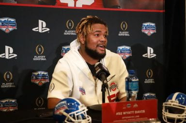 Ohio State redshirt junior offensive lineman Wyatt Davis (52) speaking to the press when he was a redshirt sophomore at the Fiesta Bowl media day Dec. 26, 2019. Credit: Cori Wade | Photo Editor