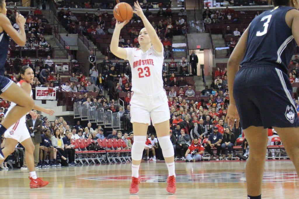 Rebeka Mikulaskiova shoots a three pointer during a game