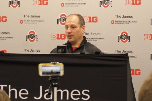 Ohio State assistant athletic director for sports performance Mickey Marotti spoke at a press conference at the Woody Hayes Athletic Center Jan. 22. Credit: Griffin Strom | Former Sports Editor