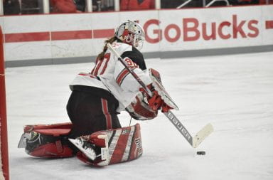 Ohio State goaltender Lynsey Wallace (30) defends the goal against Bemidji State during the Ohio State-Bemidji State game on Jan.31. Ohio State won 7-2. Credit: Mackenzie Shanklin | For the Lantern