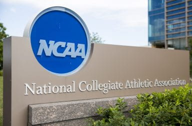 A sign with the NCAA logo outside its headquarters