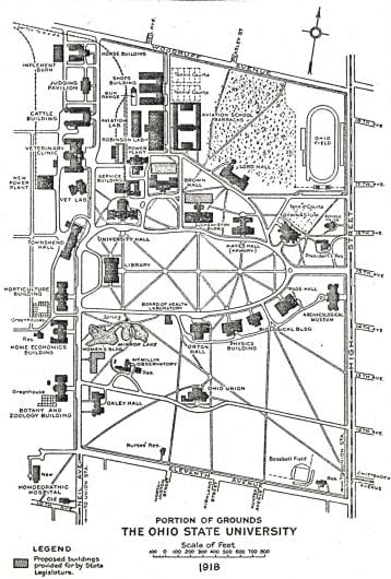 A 1918 campus map of Ohio State. Credit: Ohio State Archives