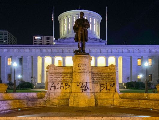"""The statute of former President William McKinley outside of the Ohio Statehouse was spray painted with """"U did this."""" Credit: Max Garrison 