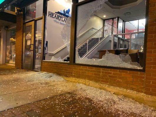 The windows at Heartland Bank on High Street were damaged. Credit: Max Garrison | Asst. Campus Editor