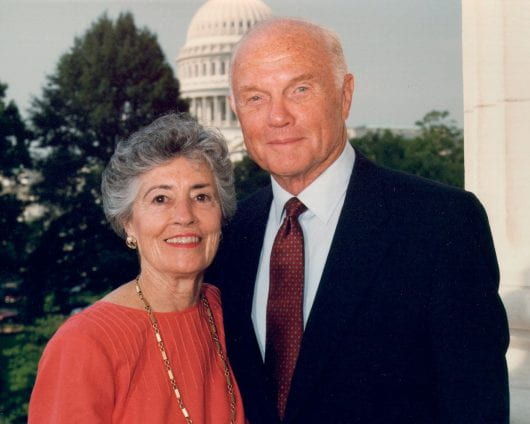 Annie Glenn and her husband former Ohio Sen. John Glenn in 1998. Annie Glenn helped establish the John Glenn College of Public Affairs and worked with the Department of Speech and Hearing Science at Ohio State. Credit: Courtesy of TNS/Office of John Glenn