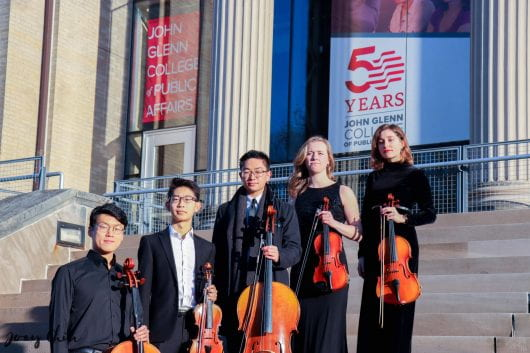 Five members of the student-run symphony for non-music majors, Buckeye Philharmonic Orchestra, formed the Buckeye Quintet in January 2020. Credit: Courtesy of Alex Ikezawa.
