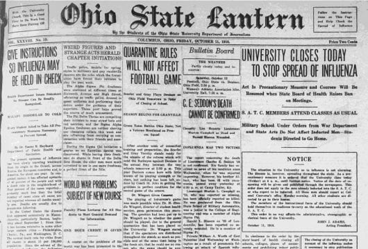 The front page of The Lantern Oct. 11, 1918. Despite campus closing Friday, Ohio State played its football game against Denison Saturday. Credit: The Lantern Archives
