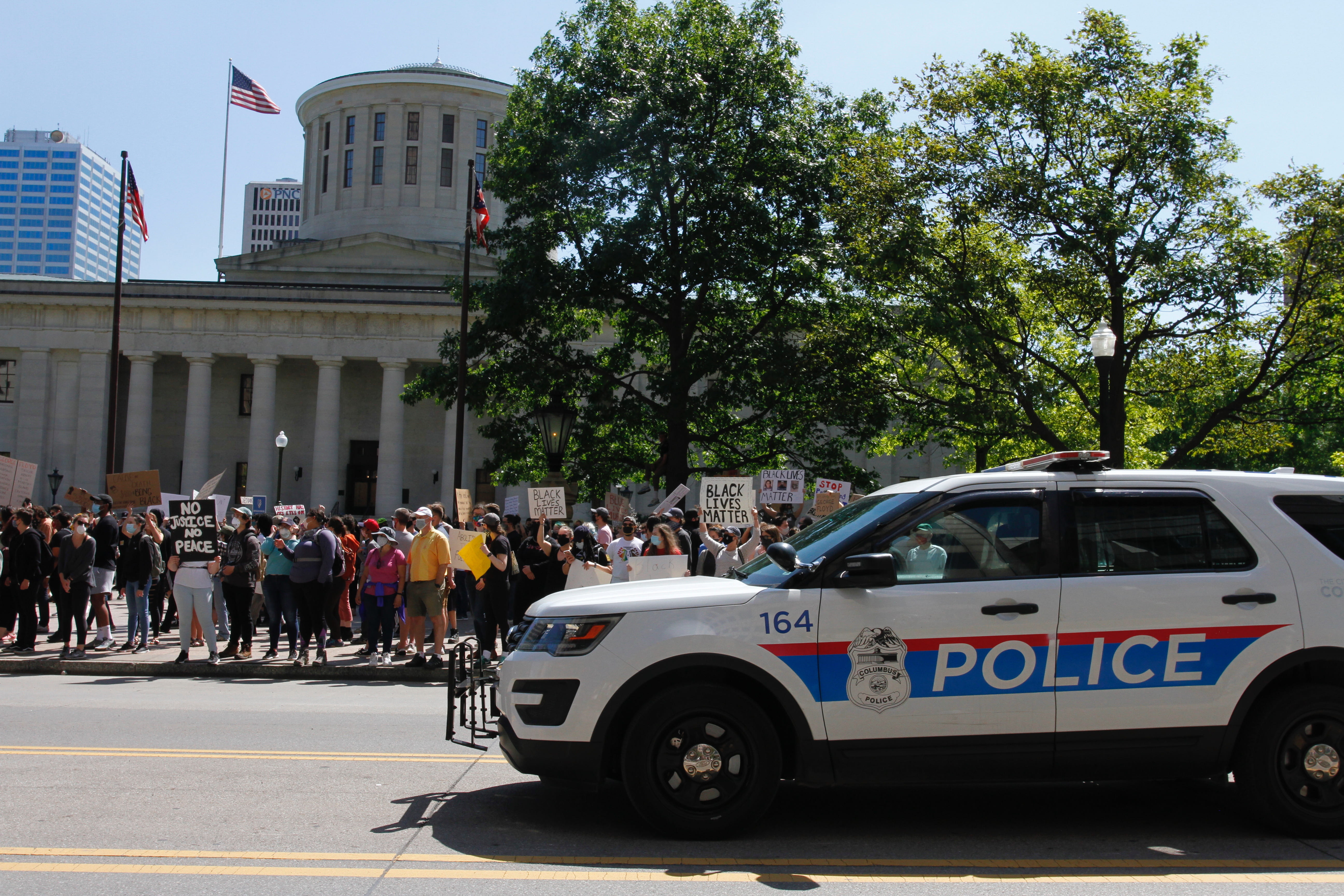 Columbus Police car outside the Ohio Statehouse where protesters gathered.