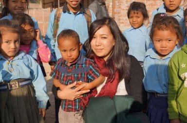 Arati Maleku with students in Nuwakot, Nepal