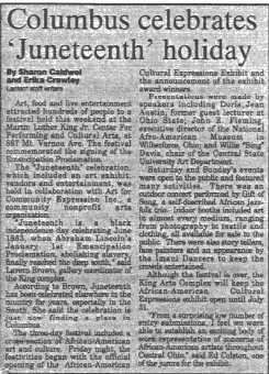 A newspaper clipping from June 21, 1993 about Columbus Juneteenth celebration.