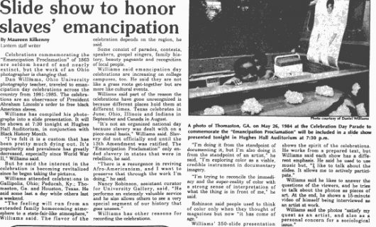 """Newspaper article from Feb. 12, 1987 titled """"Slide show to honor slaves' emancipation."""""""