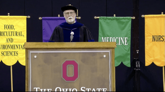 Executive Vice President and University Provost Bruce McPheron addresses the summer class of 2020