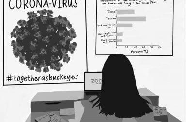 Illustration of student working on online classwork
