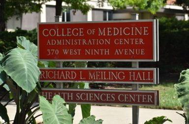 Ohio State's college of medicine sign