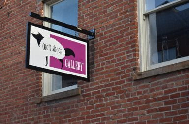 The (not) sheep gallery sign outside of the gallery
