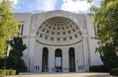 Outside of Ohio Stadium's rotunda entrance.