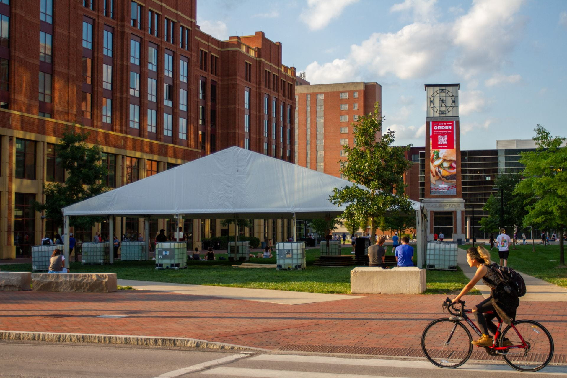 A newly constructed tent outside of Scott Residence Hall