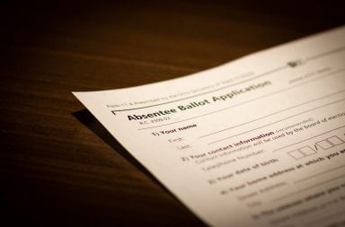 An absentee ballot application