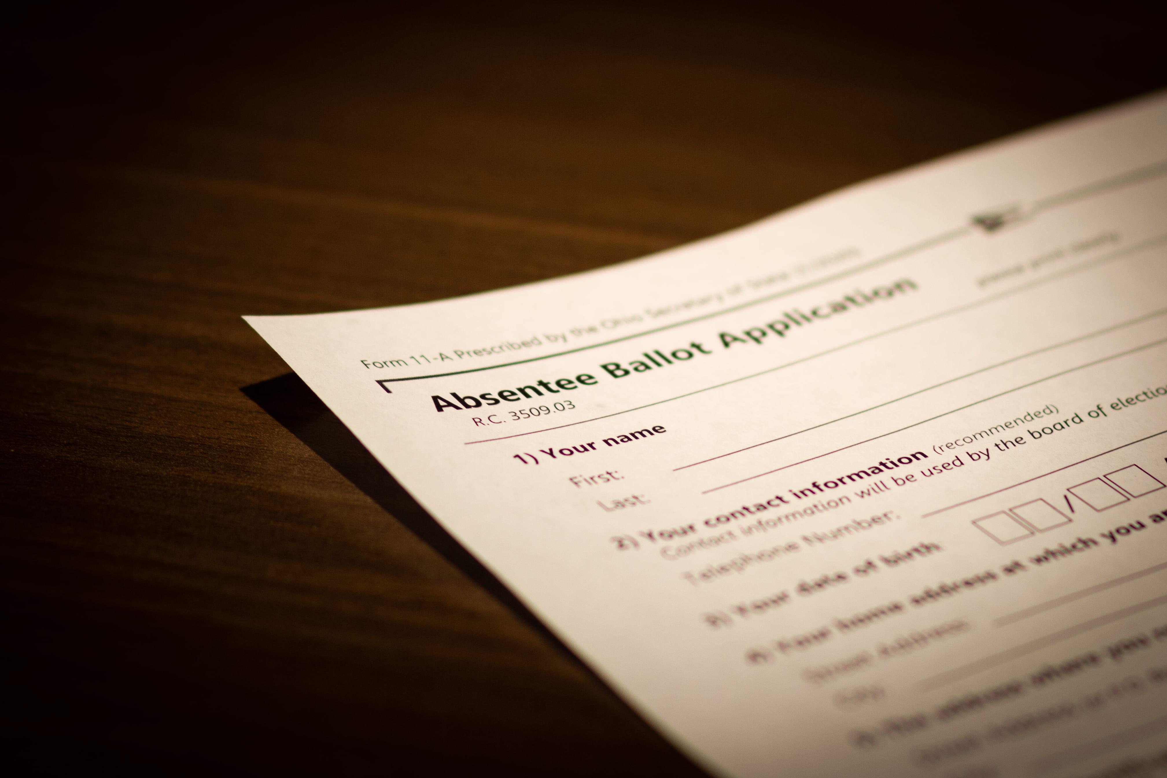 An absentee ballot application