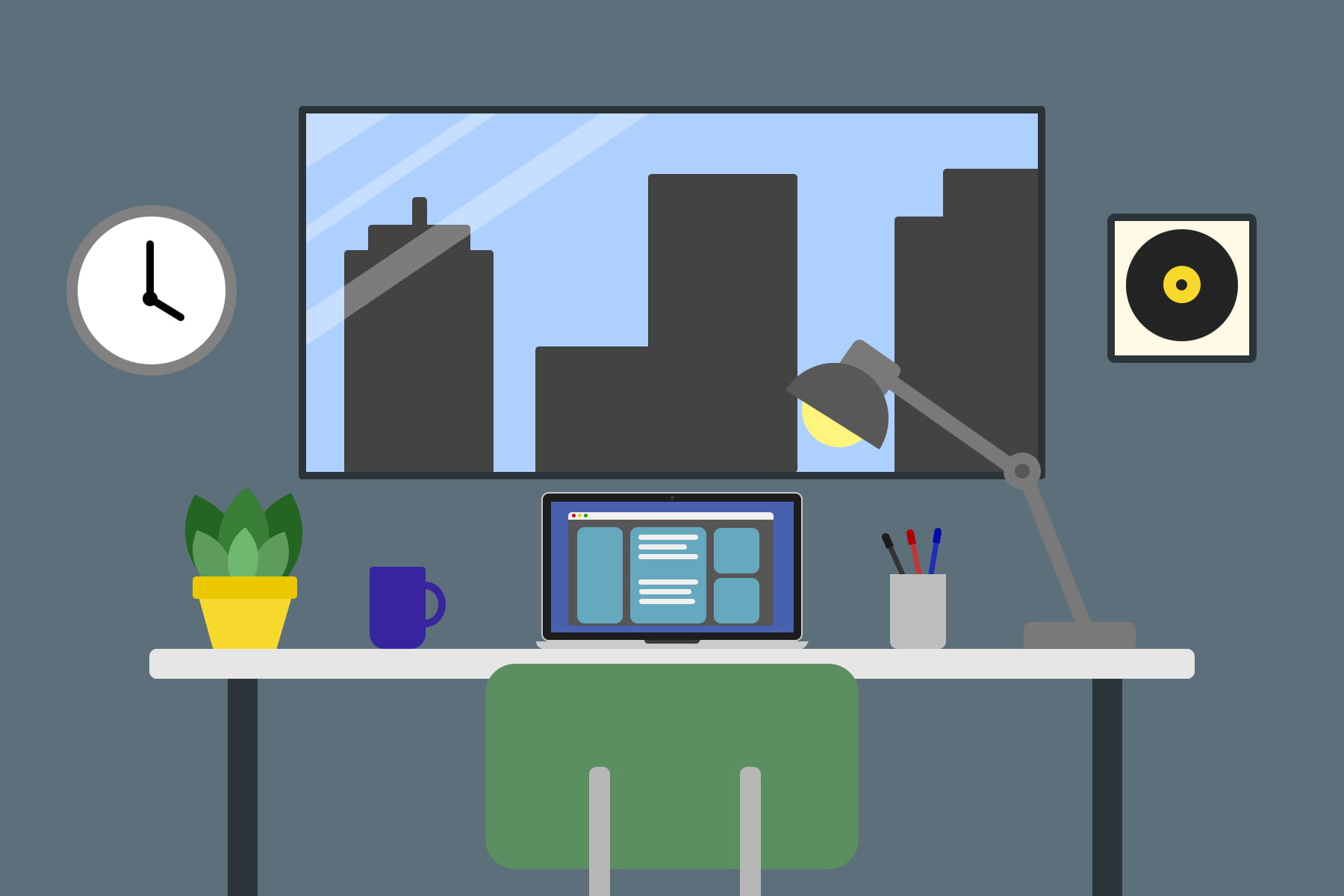 Illustration of a desk with a computer and a lamp