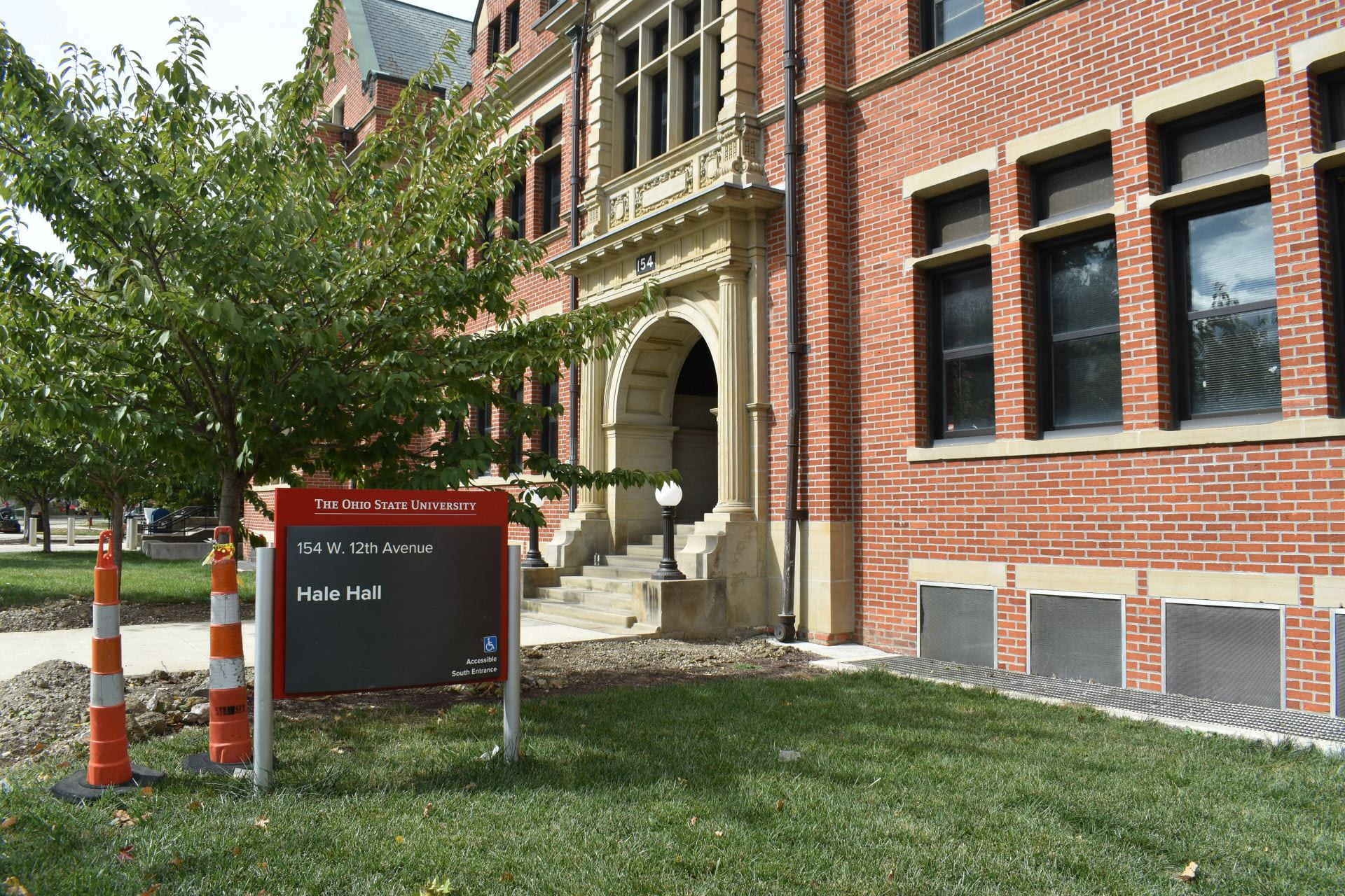 The outside of hale hall with the hall sign