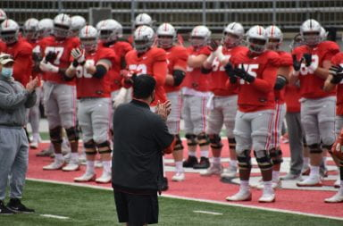 Ryan Day looks on at his team in practice