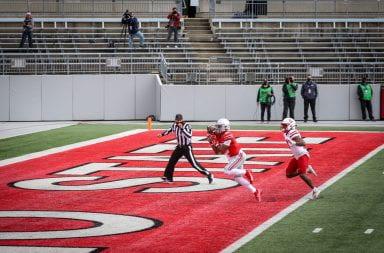 Garrett Wilson scores a touchdown